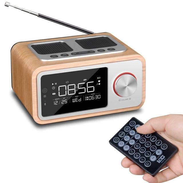 LEORY Afstandsbediening Bluetooth Speaker Fm Radio Wekker MP3 Desktop Thuis Houten Draadloze Muziekspeler 2500mah Krachtige Luidspreker