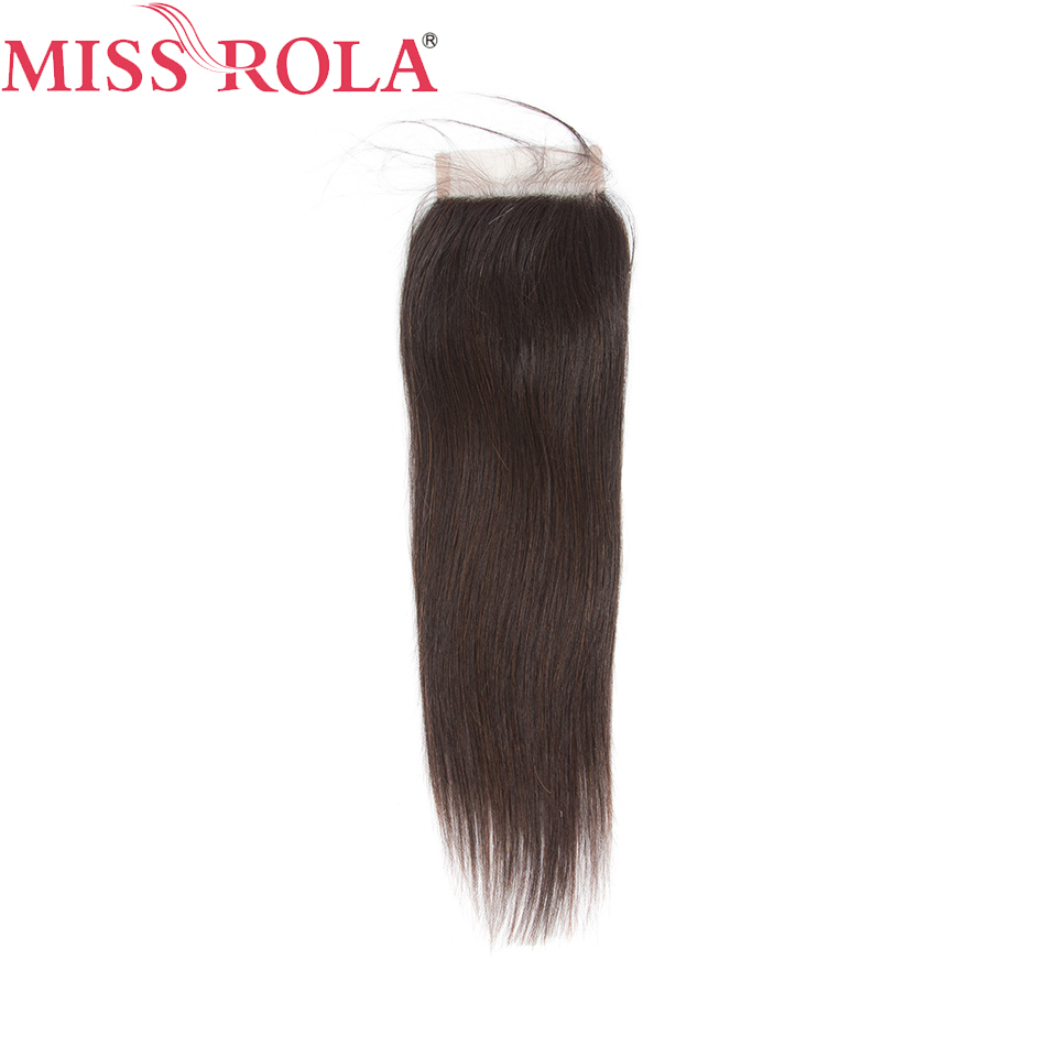Miss Rola Hair Brazilian Non-Remy Hair 4x4 Lace Closure 130% Density Hair Straight 8-20inch Middle Part/ Free Part/three Part