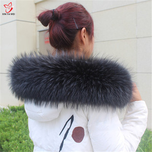 Image 2 - Natural Fur Collar Shawl Sweater Coat Collar Scarves Luxury Fur Raccoon Neck Cap Winter Real Fur Collar And Scarves women scarf