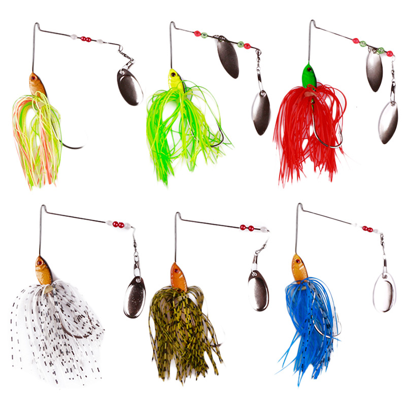 6Pcs/Set Spinner Fishing Lure Buzzbait Spoon Metal Wobblers Fish Hooks Skirt Jig Head Pin wire Bait for Bass Fishing Tackles 15g aew arrival yan zhenqing s calligraphy script kaishu copybook chinese brush calligraphy copybook water repeat writing cloth