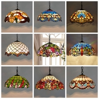 Tiffany Baroque Stained Glass Suspended Luminaire E27 LED Iron Chain Pendant Light Lighting Lamp for Home Parlor Dining Room