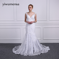 HS39 Elegant Noble Empire Wedding Dresses Boat Neck Sweep Train Tulle Sleeve Wedding Gown Covered Button