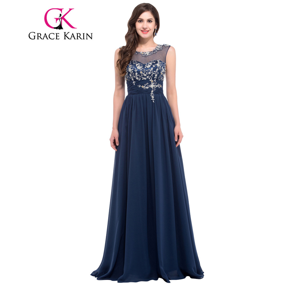 Grace Karin Evening Dress Elegant Women Beige Gray Apricot Navy Blue Champagne Chiffon Evening Gowns Long Formal Party Dresses