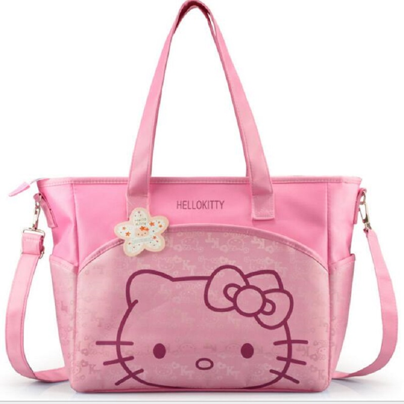 oxford hello kitty mummy bag Women Casual shopping bag Cartoon bag women tote picnic bag 2 colors creeper oxford aluminum film lunch picnic insulation bag khaki white