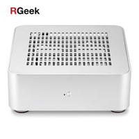 [Top Cover with Holes] RGeek Aluminum Mini ITX Computer Case PC Case Chassis HTPC USB 3.0 With 200W Power Supply