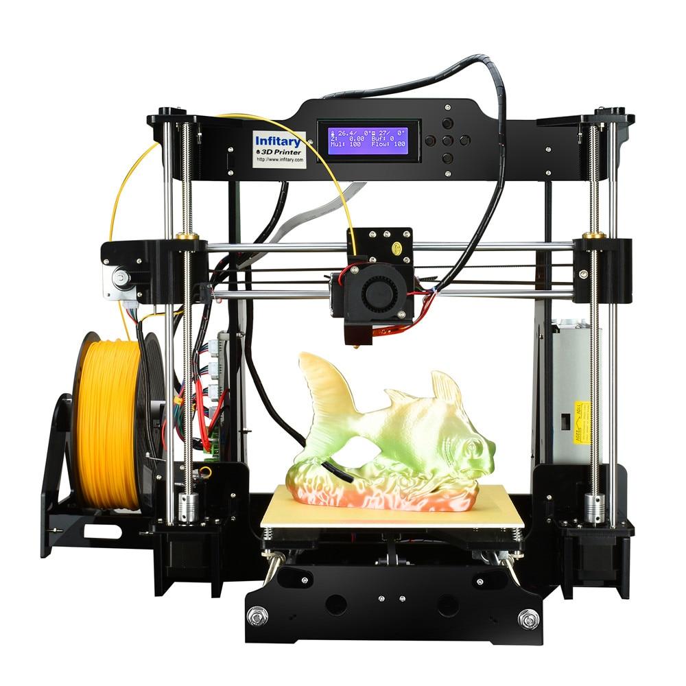 Infitary High precision 3D Printer Kits  Cheap 3D Printers DIY kits 3d printing 1 Roll PLA Free test Filaments impresora 3D high precision desktop 3d printer kits diy self assembly acrylic frame impresora impressora cheap 3d printers