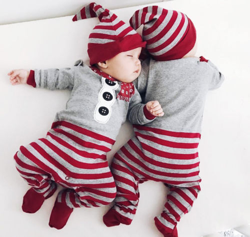 Christmas Baby Boy Girl Xmas Santa Jumpsuit One-pieces Romper Outfits Clothes