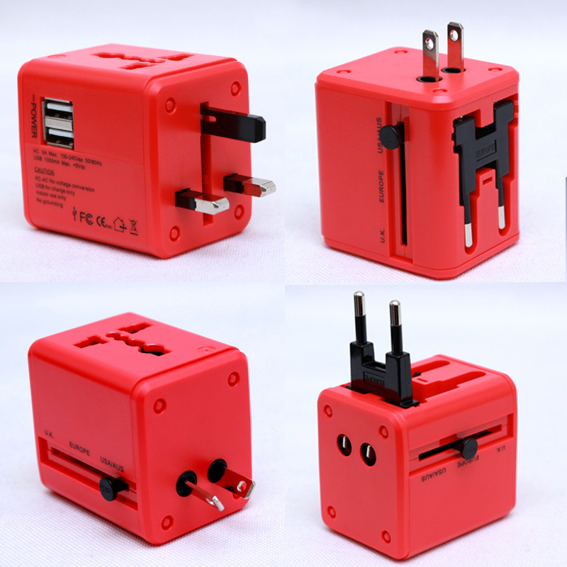 All in One Universal travel Adapter Dual USB Travel Charger universal charger converter with AU US UK EU Plug
