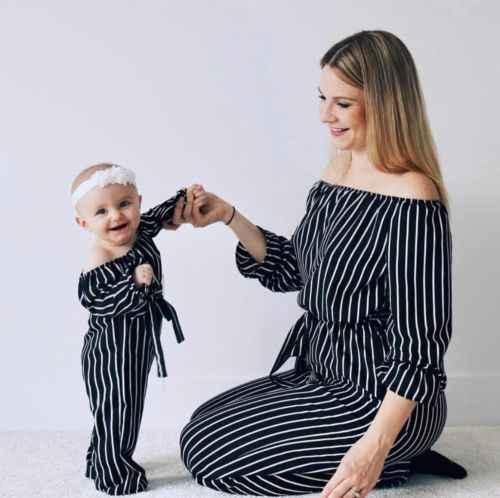 Família combinando mamãe crianças roupas listradas, playsuit, macacão, roupas fora do ombro, moda sexy, de alta qualidade, macacão, quente