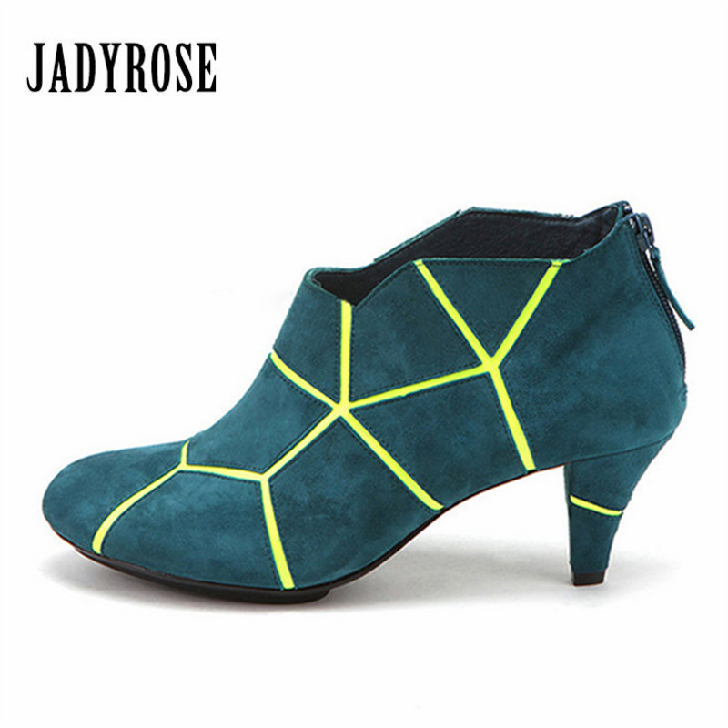 Jady Rose Color Block Women Ankle Boots Spike Heel Back Zipper Female Autumn Boot Women Pumps Stiletto Valentine Shoes