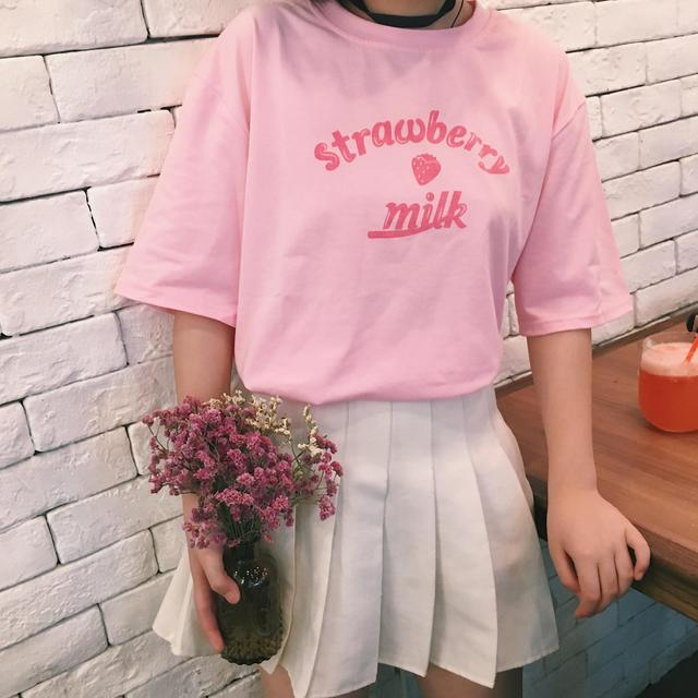 2021 Summer New Fashion Letter Printed Cote College Wind Short Sleeve Loose Female T-shirts 1