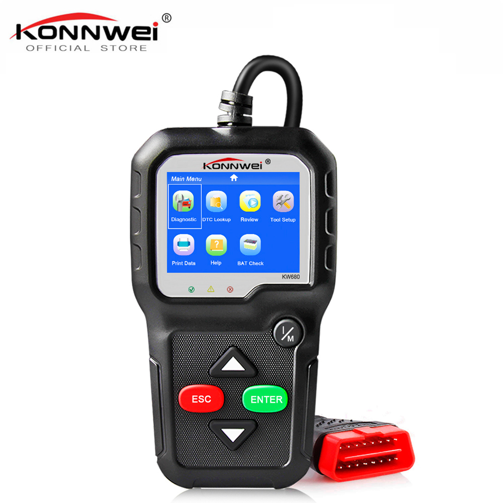 KONNWEI KW680 OBD2 Diagnostic Scanner Auto Diagnostic Tool Colorful Screen Full OBD2 ODB2 Function Diagnostic Scanner for Car tech2 obd2 usb tech diagnostic scanner for opel
