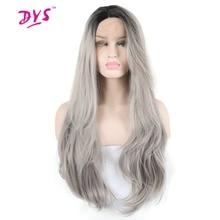 Deyngs Длинные Волнистые черный корень Ombre серый Синтетические волосы на кружеве парик Синтетические волосы для черный Для женщин половины руки связали с естественной линии роста волос