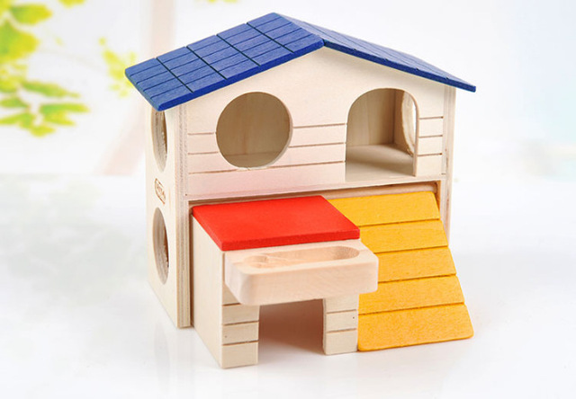 Cute Small Animal Pet Hamster Wooden house Cage Dual Layer Foldable Villa For Parrot Ferret Rabbit Squirrel Guinea Pig Mouse Toy