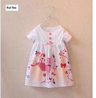 10641 44 New 2015 Summer Girl Dress White Printing Cats Short Sleeve Cute Girl Princess Dress
