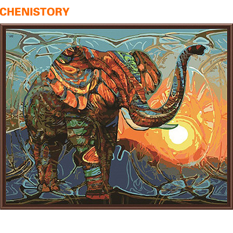 CHENISTORY pintura abstracta África elefante animales DIY pintura por números pintura moderna de la lona de la pared para las ilustraciones caseras