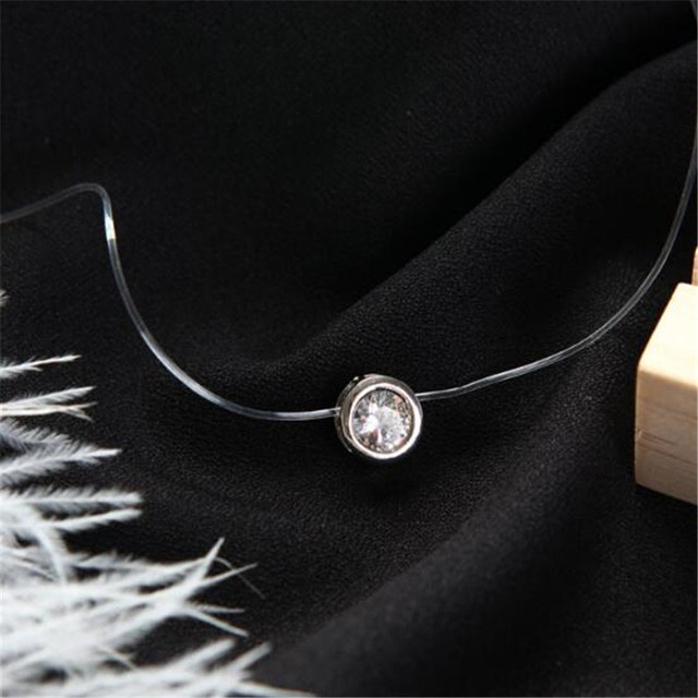Ahmed Simple Transparent Thin Lines Rhinestone Pendant Tattoo Choker Necklace For Women Charm Fashion Collar Bijoux Jewelry 3