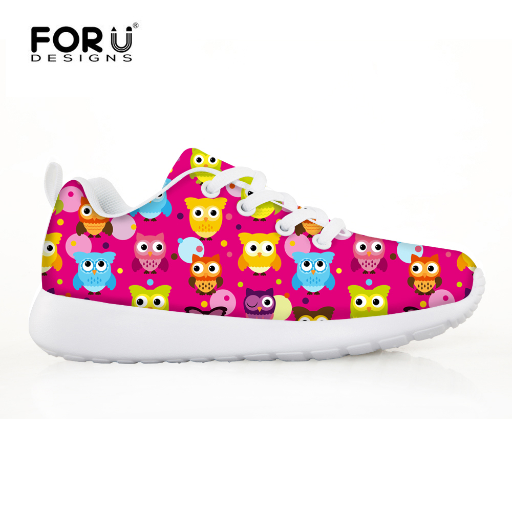 FORUDESIGNS Kids 6 Color Girls Sport Shoes Cartoon Cats Head Printing All Season Running Shoes Low Top Lace-up Flat Outdoor Shoe пена монтажная mastertex all season 750 pro всесезонная