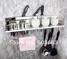 304 Stainless Steel Chrome Bathroom Accessory Kitchen Knife Storage Holder Shelf MF-757