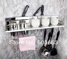 304 Stainless Steel Chrome Bathroom Accessory Kitchen Knife Storage Holder Shelf MF-757