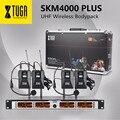 XTUGA SKM4000PLUS Professionele 4*100 Kanalen UHF draadloze Bodypack microfoon systeem, Selecteerbare Frequentie, tot 260Ft