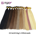 "22"" 60g Remy pre bonded keratin glue nail tip U tip hair extensions micro bond hair extension flat tip fusion hair extensions"