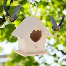 Горячие Висячие на дереве или клетке Птичье гнездо из натурального дерева креативный дом в форме сердца попугай настенный подвесной