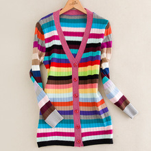 Top Quality European American Women Long Sleeve V-neck Colorful Striped Long Cardigans Sweaters Runway Celebrity Slim Sweaters