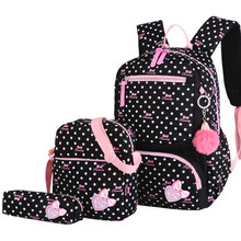 hot deal buy fashion dots 3pcs/set school bags backpack ultralight schoolbag kids backpacks for children girls primary school bags mochila