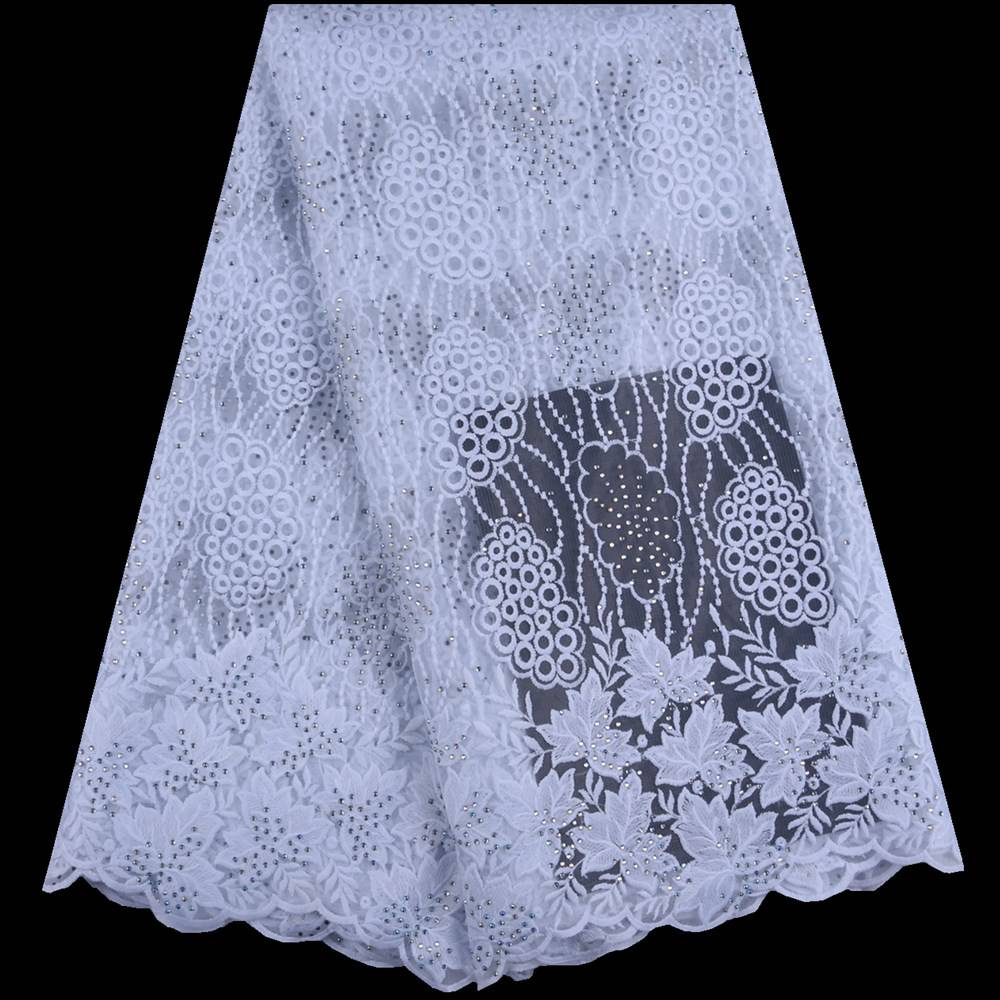 Pure White African Tulle Lace Fabrics High Quality French Milk Silk Lace Fabric Embroidered Lace With