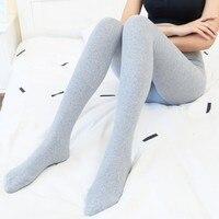 Autumn Winter Women Cotton Tights Solid High Waist Woolen Yarn Stockings Slim Warm Thick Striped Tights