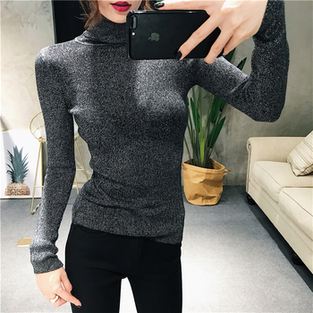 New Glitter Turtleneck Women Pullover Sweater High Elasticity Knitted S Slim Jumper Autumn Winter Basic Female Sweater