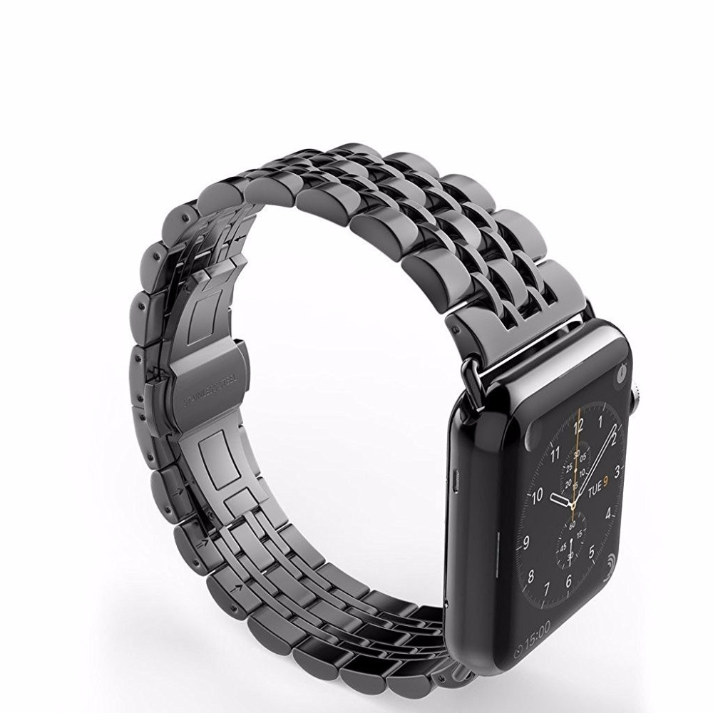 CRESTED 316L Stainless Steel band for apple watch 42mm/38 strap butterfly buckle watchband metal link bracelet for iwatch 1 2 3