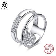 ORSA JEWELS 100% Genuine 925 Sterling Silver Women Rings AAA Shiny Cubic Zircon Pave Setting Female Party Jewelry SR54(China)
