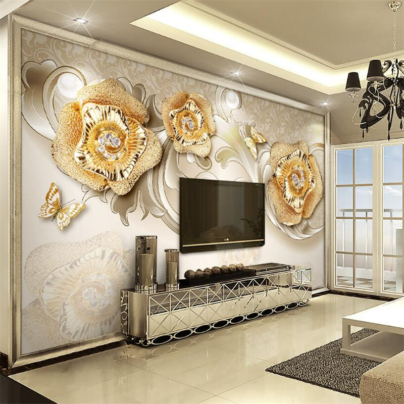 Large 3d European Pearl And Rose Jewelry Tv Background: Beibehang 3d Wallpaper Exquisite European Gold Rose