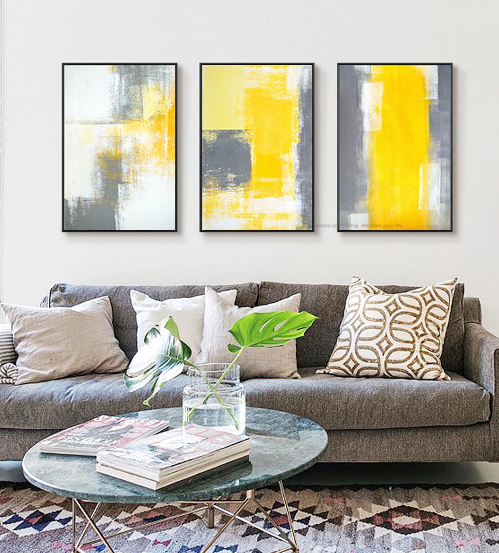 MUYA 3 stück leinwand malerei abstrakte ölgemälde handmade hell gelb ...