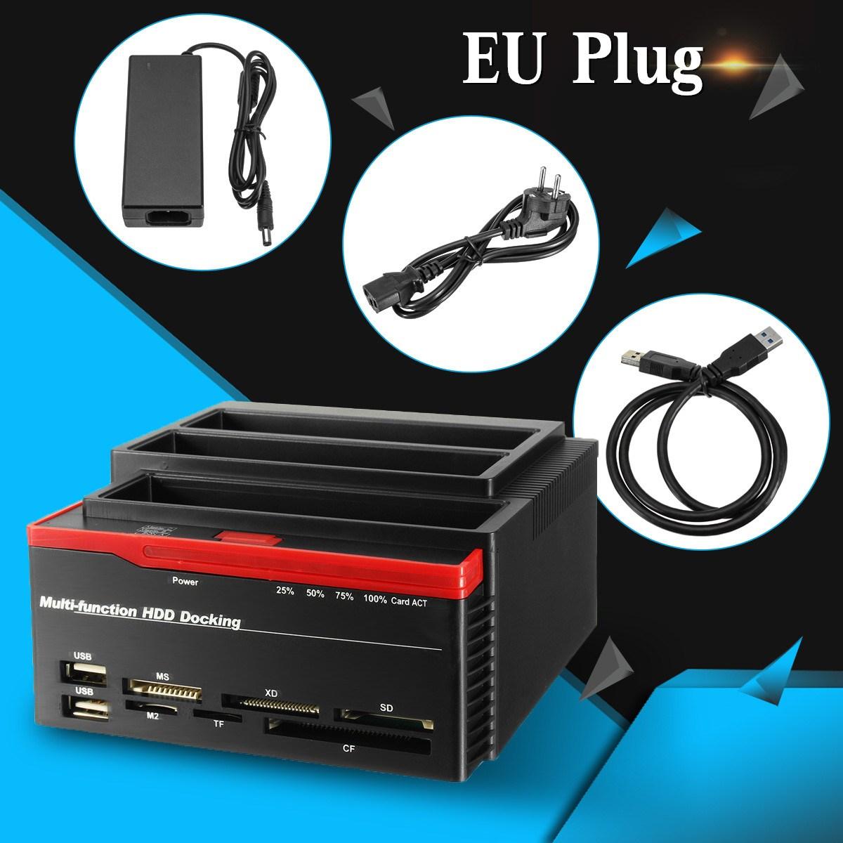 2.5/3.5 to 2 SATA Ports 1 IDE Port USB 3.0 External HDD Hard Drive Docking Station Card Reader Hub W/EU Plug