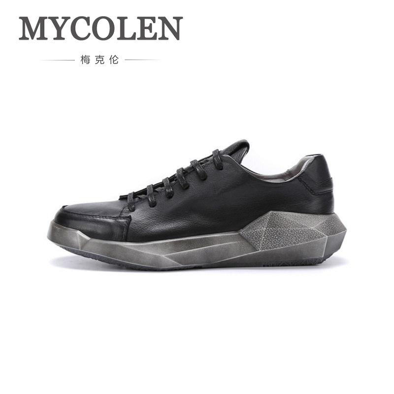 MYCOLEN 2018 Fashion Light Breathable Lace-Up Men Shoes Man Genuine Leather Casual Men's Shoes Male Sneakers Tenis Masculinos