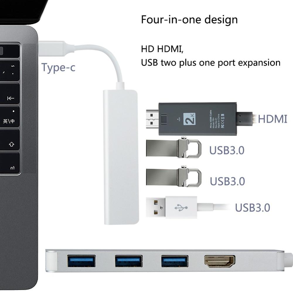 4 в 1 TYPE-C к USB3.0 HDMI адаптер HD 4 К HDMI аудио кабель для передачи данных Высокое качество Алюминий сплав USB 3,0 HDMI Кабель-адаптер