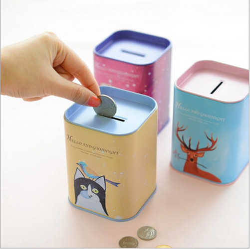 fashion korean novelty square metal tin coin bank piggy