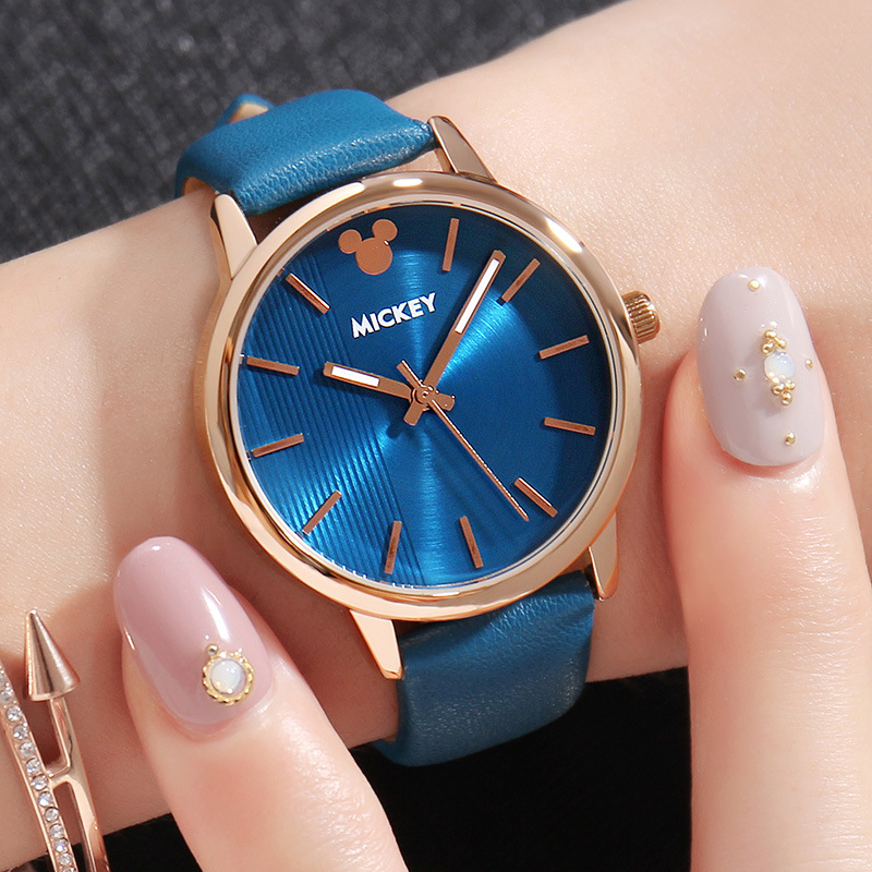 Blue Leather Band Watches Women Vertical Grain Wrist Watch Ladies Quartz Clock Girl Relogio Feminino Reloj Mujer Zegarek Damski a086570 00 a061850 00 roller for noritsu 3501 02 series and 3011 3001 minilab 5pcs