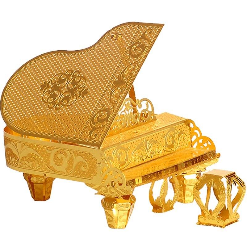 Piececool Grand Piano DIY 3d Metal Nano Puzzle Assemble Model Kits P024-G Laser Cut Jigsaw Toys original piececool 3d assembling metal puzzle taj mahal building p007 g model diy 3d laser cut nano jigsaw toys gold