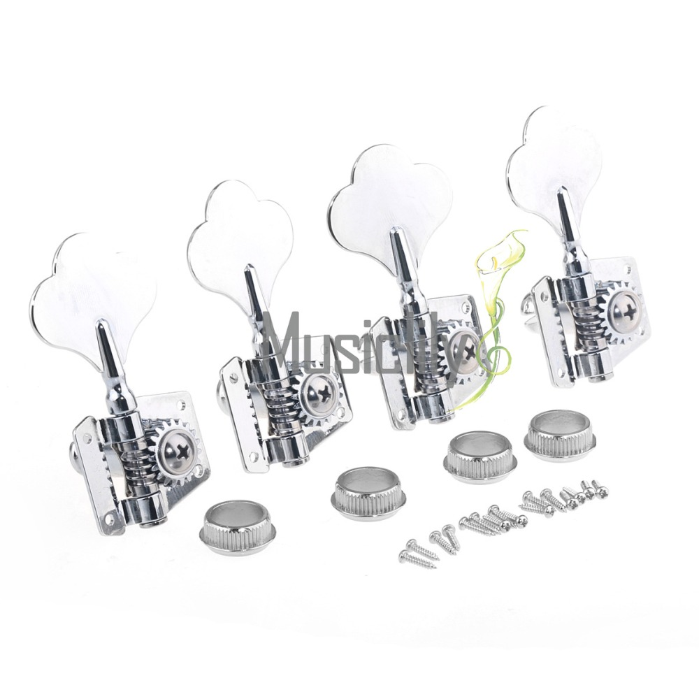 Musiclily Pro 4-in-line Bass Sealed Tuner Machine Head Set, Chrome/Black afanti super bilateral bass head tuner ast 156