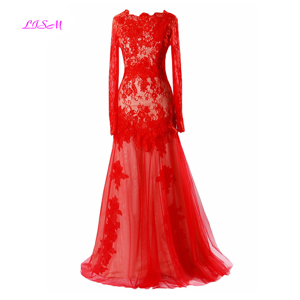 Lace Evening Dresses Long Mermaid Evening Gowns Real Photos Red Long Sleeves Bodice Tulle Prom Dress robe de soire in Evening Dresses from Weddings Events