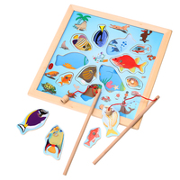 Baby Kids Magnetic Puzzle Fishing Game Board Wooden Jigsaw Puzzle Children Educational Toys Gift FCI