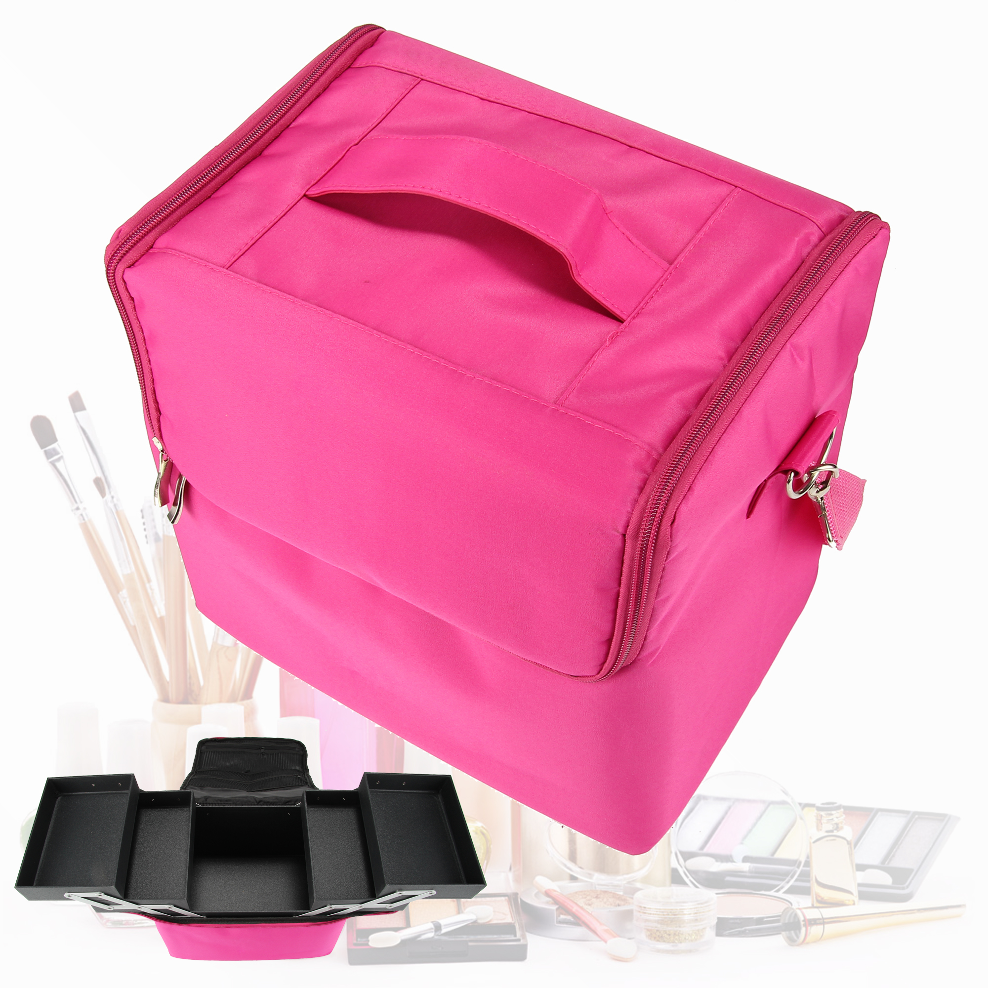 Vanity Case Makeup Bag Cosmetic Bag Box Make Up Organizer Toiletry Nail Beauty Box Storage Travel Wash With Zipper ttou fashion barrel shaped cosmetic bag trip beauty women travel toiletry kit make up makeup case bag wash bags organizer