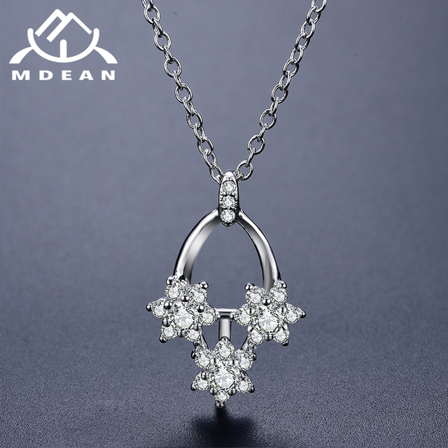 MDEAN Necklace Pendant White Gold Color Jewelry for Women flower Wedding Engagement wedding Clear AAA Zircon Necklace  D172
