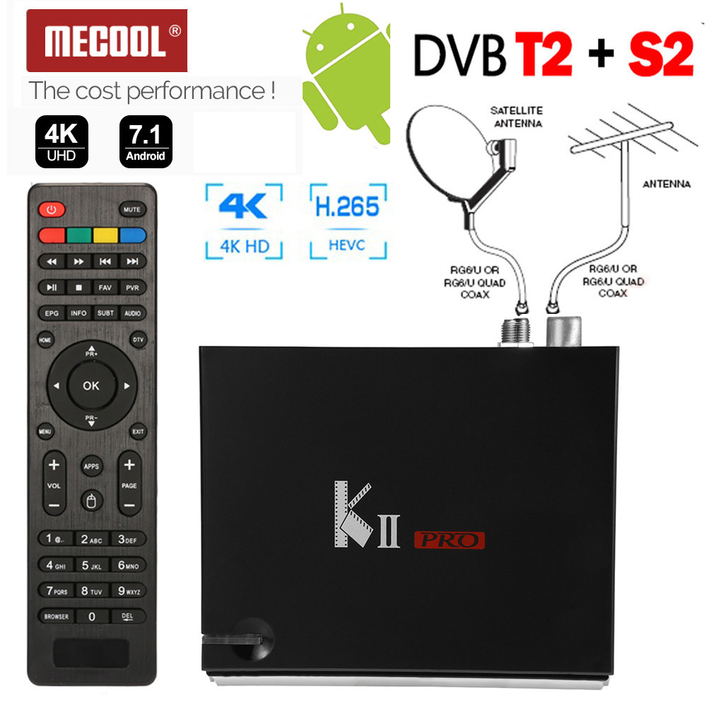 MECOOL KII PRO 2G RAM H.265 S905D 4K Android 7.1 Box + DVB-T2 + DVB-S2 Satellite Combo TV Tuner Bluetooth 2.4/5G WIFI Cccam Biss mecool kii pro tv box dvb t2 dvb t2 s2 amlogic s905 quad core 2gb 16gb android 5 1 tv box bluetooth 2 4g 5g wifi set top box