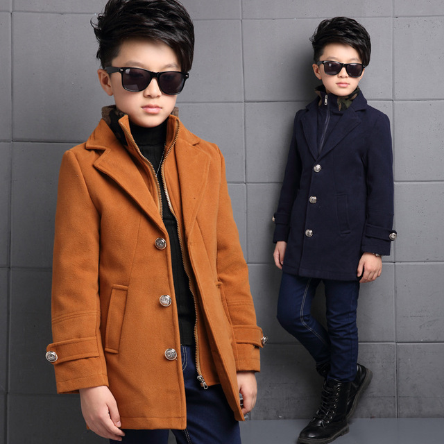 Newet Gentleman Style Boy Wool Coat Double Collar Kid Long Overcoat High Quality Thick Warm Children Fashion Outwear Jacket
