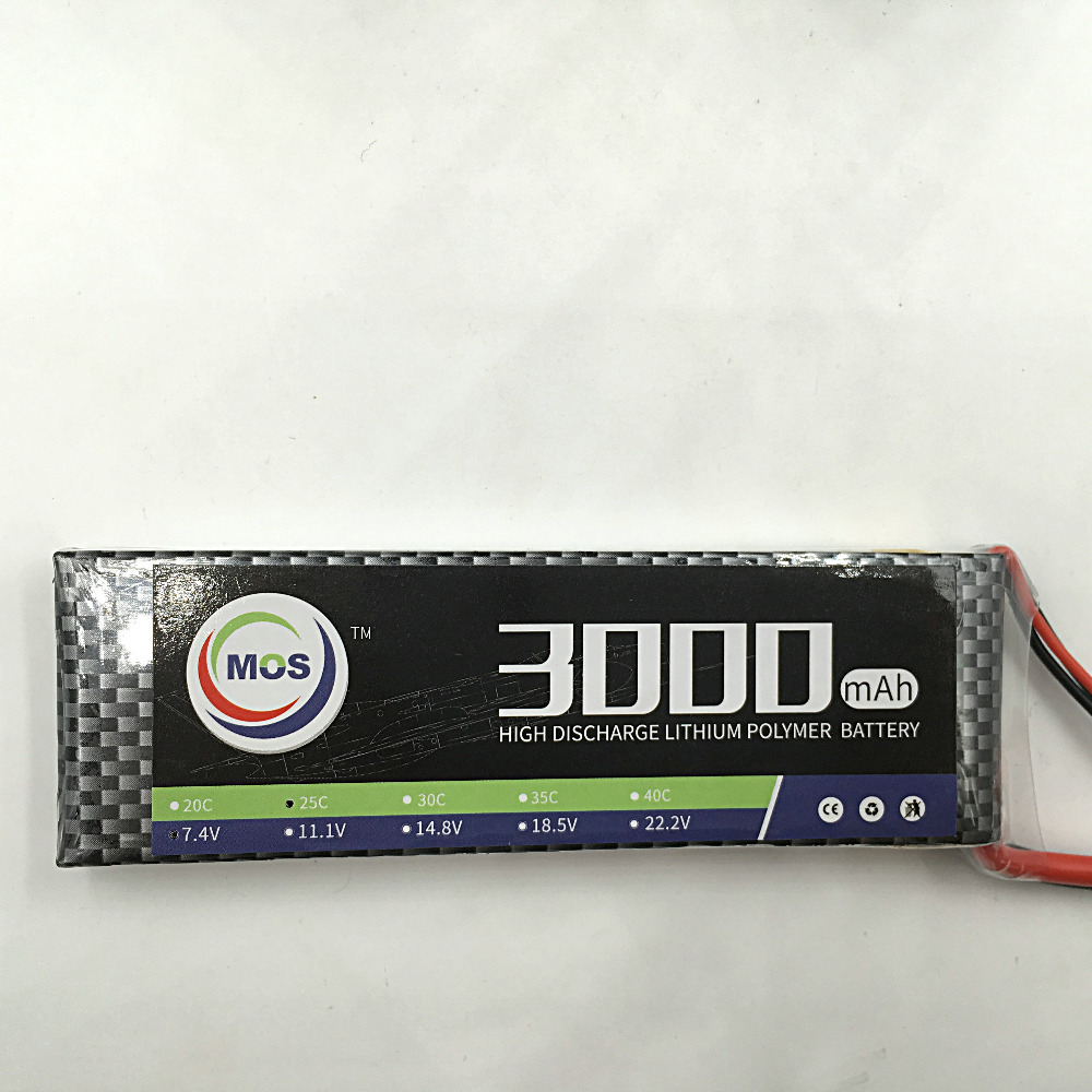 MOS 2S lipo battery 7 4v 3000mAh 25C For font b rc b font helicopter font